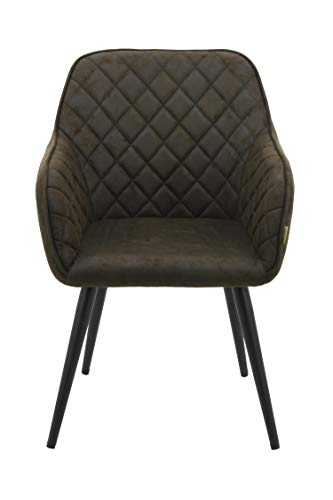 HNNHOME Dalton Upholstered Kitchen Dining Chair with Arms and Back, Strong Metal Leg, Lounge Living Room Armchair Reception Tub Chair (Chocolate Brown, Fabric)