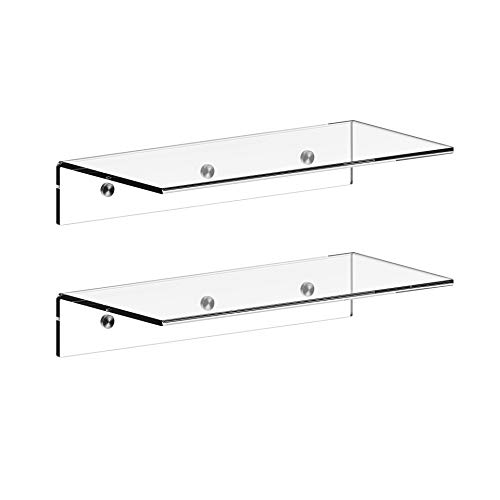 Jusalpha 12 Inch Contemporary Clear Acrylic Floating Shelves -5 mm Thickness Wall Mounted Display Organizer, Set of 2 (12 Inches)