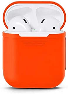 For AirPods Case Protective Soft Silicone Charging Cover Pouch Case Skin Sleeve -Orange