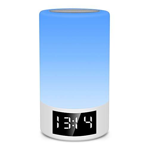 Altavoz Bluetooth con luz Nocturna M6 - Reloj Despertador con Control táctil Luz de Noche LED Reproductor de música USB AUX USB niños, Dormitorio, al Aire Libre