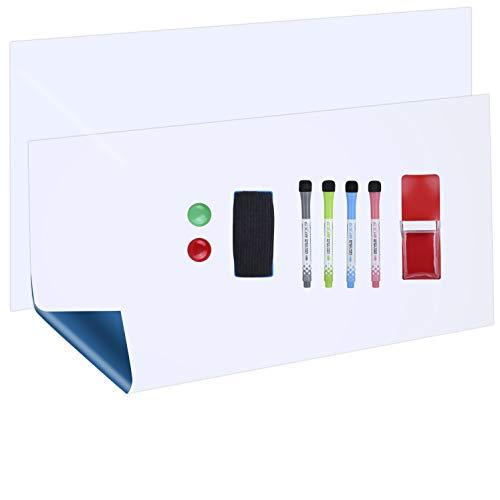 POPRUN 90×40cm (2 Stücke) Whiteboardfolie selbstklebend Magnettafel Magnetfolie für Magnete insgesamt 90×80cm trocken abwischbar mit 4 Whiteboard Marker, 1 Radierer, 1 Markerhalter und 2 Magnete