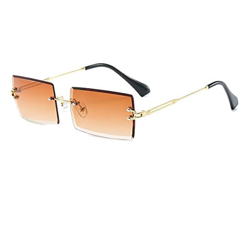 YOJUED Gafas de sol rectangulares retro para mujeres y hombres de moda vintage pequeñas cuadradas sin montura montura lentes tintadas gafas protección UV400 (Tee Brown)