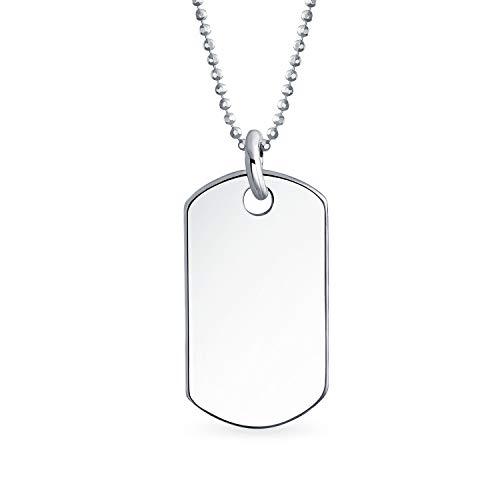 Hombres grabables hombres civil militar perro etiqueta colgante collar para hombres 925 plata de ley 16 pulgadas cadena de bolas de cuentas X pequeño