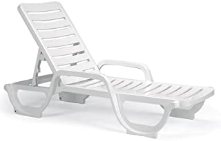 InTheSwim Bahia Contract-Grade Resin Chaise Lounge, White Color