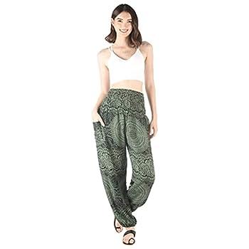 Women Boho Harem Pants Yoga Hippie Summer Clothing- Medium Gypsy Mandala Green