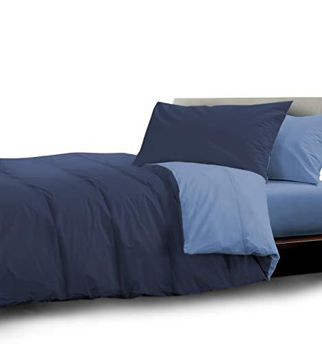 HomeLife Edredón de Invierno para Cama de Plaza y Media 220X250 Fabricado en Italia | Nórdico de Invierno Reversible | Duvet Hipoalergénico Extra Cálido de Color Sólido | Azul