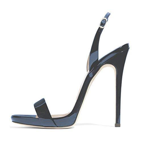 FSJ Women Sexy High Heel Stiletto Sandals Ankle Strap Slingback Open Toe Evening Shoes Size 7 Navy