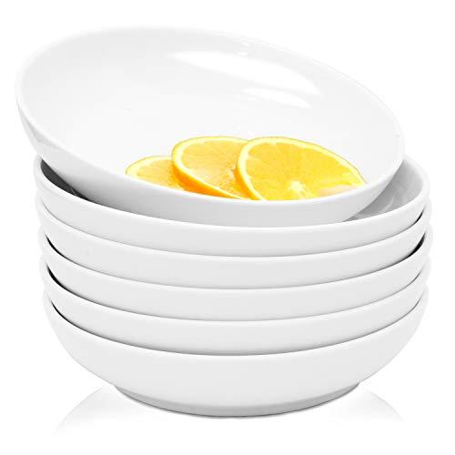 Youngever 22 Ounce Porcelain Salad Pasta Bowls, Set of 6, White Porcelain Deep Plates, Entree Bowls, Ceramic Plates, Microwave Safe, Dishwasher Safe
