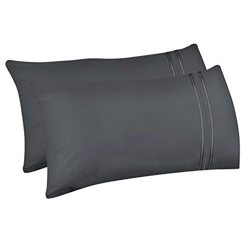 Lirex 2-Pack Fundas de Almohada, Tamaño 50 cm x 75 cm Fundas de Almohada de Microfibra Suave Cepillada, Transpirables sin Arrugas y Lavables a Máquina (Gris Oscuro, Queen)