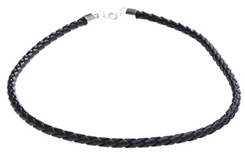 Windalf Vintage Lederband geflochten RAGNA 45 cm Schwarze Leder Halskette Bohemian Schmuck 925 Sterlingsilber
