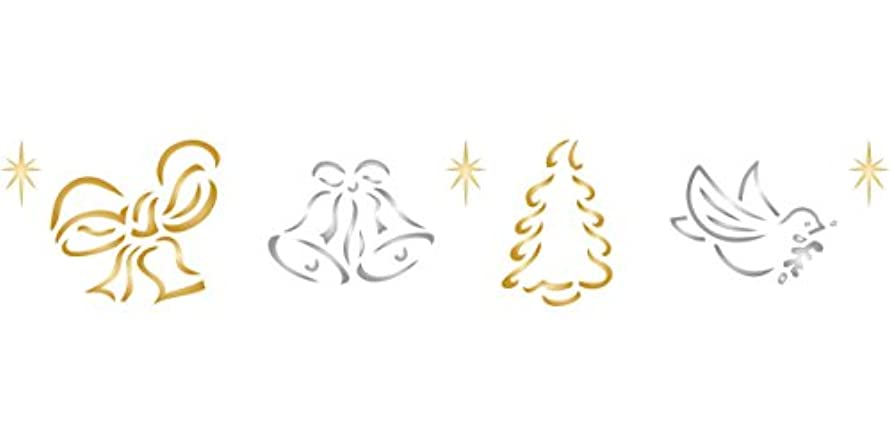 """Christmas Border (size 12""""w x 2.25""""h) Reusable Stencils for Painting - Best Quality Christmas Project Ideas - Use on Walls, Floors, Fabrics, Glass, Wood, Cards, and More…"""