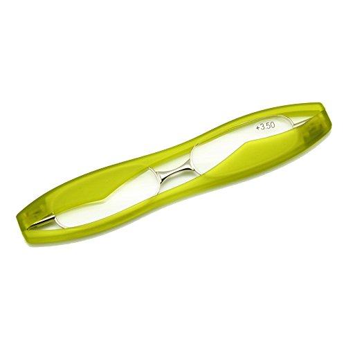 EnzoDate großen Rahmen Podreader Falten alterssichtigen Lesebrille Brille, Mini Pocket Reader (Stärke +1,75, Grün)