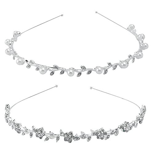 Lurrose 2pcs minimalista elegancia plata Rhinestones y perlas decoración hoja vid diadema para...