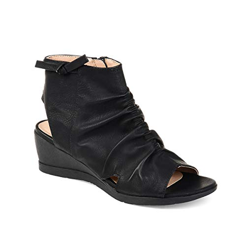 Syktkmx Womens Wedge Slouchy Backless Boots Open Toe Ruched Low Heel Cutout Zip Up Ankle Booties