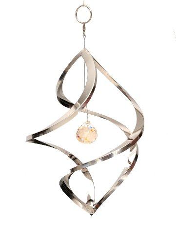 Home2Garden Sculpture infinité pour le jardin en acier inoxydable avec bille nova en cristal