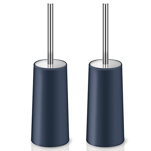 IXO Toilet Brush and Holder, 2 Pack Toilet Brush with 304 Stainless Steel Long Handle, Toilet Bowl Brush for Bathroom Toilet-Ergonomic, Elegant,Durable (Blue)