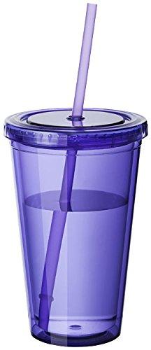 noTrash2003 plastica Bicchieri a Doppia Parete Tazza Coperchio con Cannuccia Smoothie Succo caffè ghiacciato (Purple)
