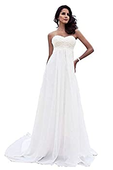 Babygirls Beach Wedding Dress Plus Size for Woman Long Wedding Dresses Lace Chiffion for Bride 2020 Pearls Bride Gowns Ivory 12