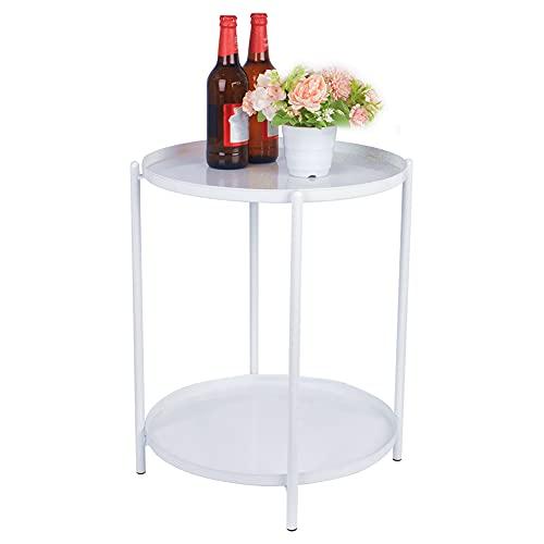 H JINHUI Mesa auxiliar redonda de metal con doble nivel, bandeja extraíble, sofá, mesa de aperitivos, mesa de noche, mesa de café para bebidas al aire libre e interior, mesa de café (blanco)