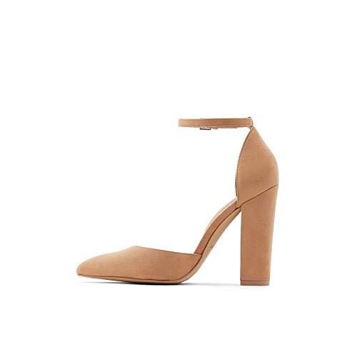 ALDO womens Nicholes Block Heel Pump, Beige, 8.5 US