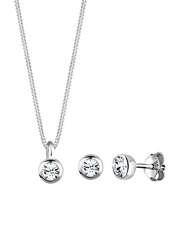 Elli Schmuckset Elli Damen Schmuckset Halskette und Ohrringe Basic mit Swarovski Kristallen in 925 Sterling Silber 45 cm lang
