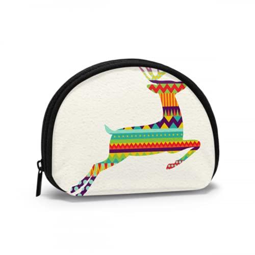Monedero pequeño para niñas Saltando Happy Fun Deer Lindo Monedero con Cremallera Bolsa de Cambio con Cremallera Mini Bolsas de Maquillaje cosmético para Mujeres niñas Regalos y Decoraciones de Fiest