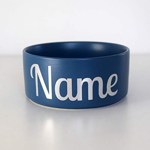 Paw Companion Futternapf Napf Wassernapf Keramik für Hunde, Katzen, Haustiere mit Namen oder Wunschtext personalisiert, 3 Größen, blau M (850 ml)