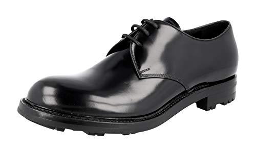 Prada Herren Schwarz gebürstetes Spazzolato-Leder Leder Business Schuhe PCU009 43 EU/UK 9