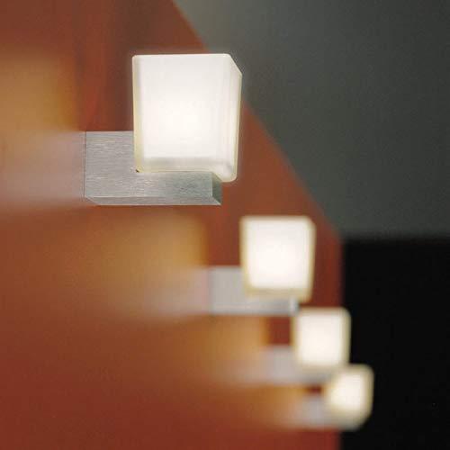 s.LUCE Cup moderne Wandlampe Würfelform minimalistisch mit quadratischem Opalglas Wandleuchte Badlampe Flurlampe Spiegellampe