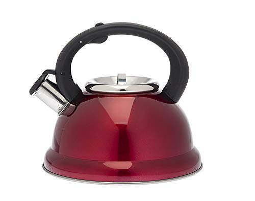 Tea Kettle Stainless Steel Whistling Teapot - 2.6 Liters, Red