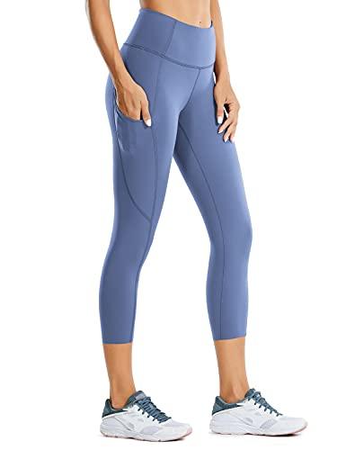 CRZ YOGA Mujer Cintura Alta Leggings Deportivas Fitness Running Pantalones Capri con Bolsillos -48cm Cortina Fresno Violeta 46