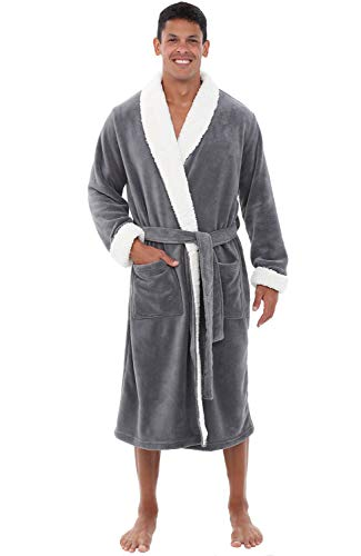 Alexander Del Rossa Men's Warm Fleece Robe, Plush Bathrobe, 1XL 2XL Steel Grey with Sherpa Accents (A0261STL2X)