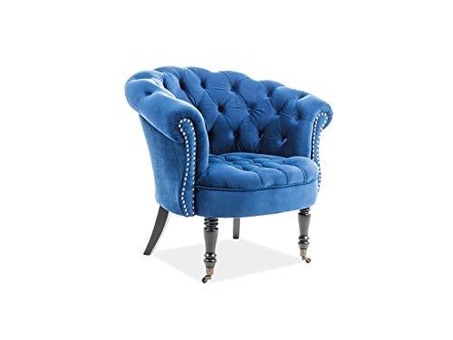 Luenra - Poltrona elegante in velluto, 87 x 78 x 83 cm, colore blu navy, gambe in legno