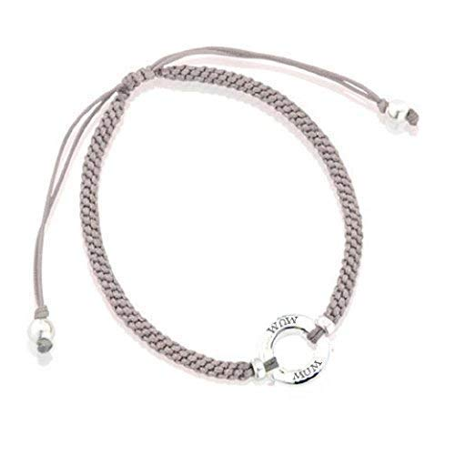 Lovethelinks Sterling Silver Friendship Bracelet with 'Mum' and Silk Adjustable Strap - Grey
