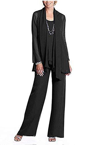 Women's 3 PC Chiffon Mother's Outfit Pants Suits for Wedding Plus Size Evening Gowns Dress Suit Black US16