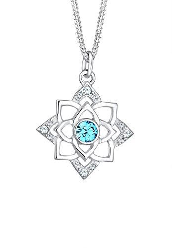Elli Halskette Geburtsstein Lotus Swarovski® Kristalle 925 Silber