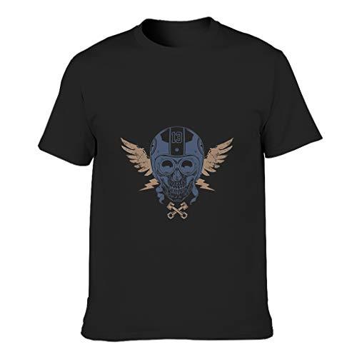 Camiseta de algodón para adultos con diseño de cráneo piloto, cuello redondo reforzado