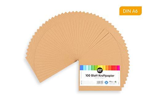 perfect ideaz 100 Blatt DIN-A6 Kraft-Papier-Set, 120g /m², Bedruckbar, Bastel-Bogen in braun, Vintage-Natur-Paper in Karton-Optik, Zubehör zum Basteln für Falt-, Speise- und Menü-Karten, Craft-Bedarf