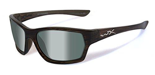 Wiley X WX Moxy Brille Polarised Grün Platinum Kontaktlinsen Olive Stripe Rahmen