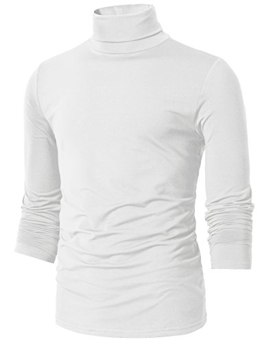 H2H Mens Basic Slim Fit Turtleneck Knit Sweater White US 2XL/Asia 3XL (CMTTL098)
