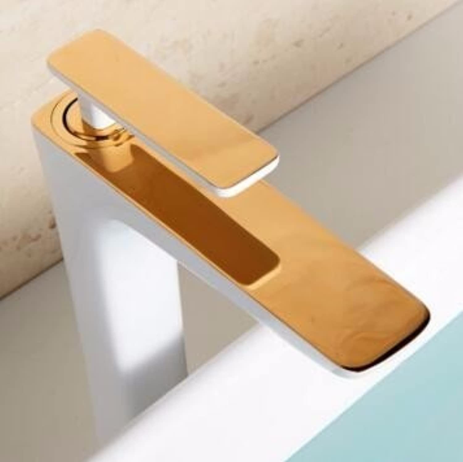 Qmpzg-White gold Taps?On The Modern Bath Basin Single Hole Tap?Hot And Cold-Copper Paint Faucet?Square, The High+White