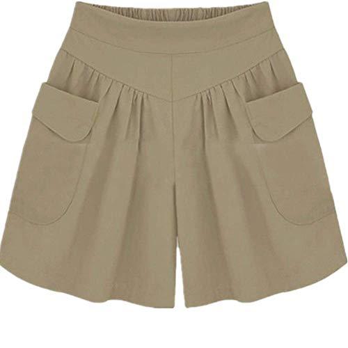 Las mujeres de la moda más el tamaño sólido flojo caliente bolsillos señora verano casual pantalones cortos sólido diario señora