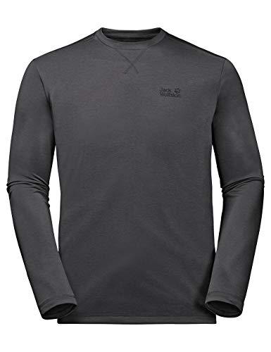 Jack Wolfskin Men's Cross Trail Long Sleeve Performance Lang Sleeve Shirt, Dark Steel, Medium