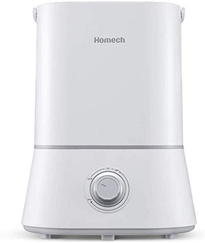 Homech Quiet Ultrasonic Humidifier,Cool Mist Humidifiers for Bedroom Home Baby (4L/1.06 Gallon) 12-60 Hours,Easy to Clean, 360° Nozzle,Waterless Tank Removal Auto Shut-Off (Dark Space Gray)
