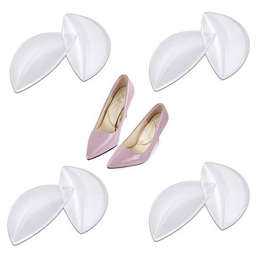 Anti Slip Schuhkissen Gel Plattfüße Einlegesohle Vorfußpolster Gel-Einlagen Schuheinlagen für High Heels Gelkissen Ball of Foot Einlegesohlen für Füße Schmerzlinderung—4 Paar/8 Stück (Transparent)