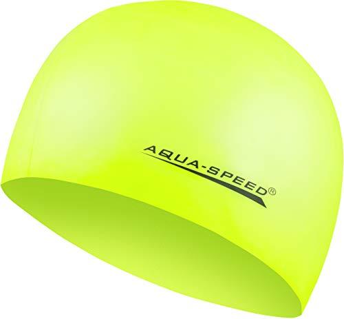 Aqua Speed MEGA gelbe Badekappe | Damen Herren I Kinder Bademütze | Bunte Badehaube | wasserdichte Schwimmhaube | Badehüte für Erwachsene | Silikonbadekappe I gelb 18