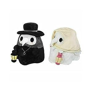 NMJHG 1PC 20CM Beak Face Plague Doctor Plush Stuffed Dolls Toy Soft Cartoon Animals Shaped Luminous Plush Toys Party Prom Props Gifts 2pcs