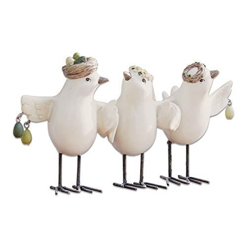Loberon Vögel Orne, Polyresin, Eisen, H/B/T ca. 11.8/22.5/11.2 cm, weiß