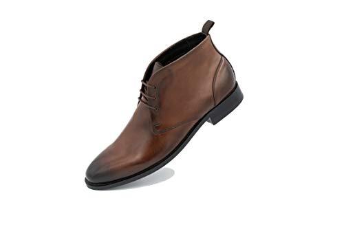 FRETZ men Sven Desert Boots | braune Leder Schnürschuhe für Herren | für Business- und Casual-Outfits, Anzug & Jeans | hochwertiges Rindsleder, modisches kastanienbraun | Größe 42