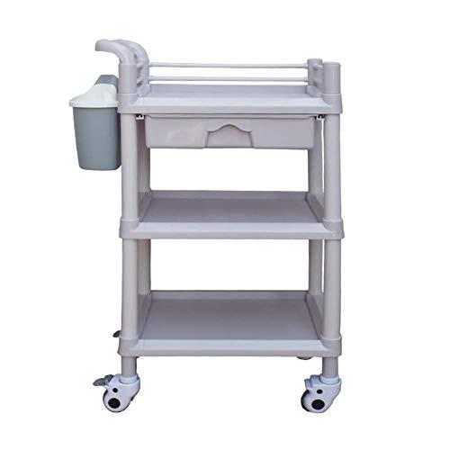Allamp Carro for herramientas en las ruedas de 3 gradas utilidad médica Carro con cajón y de la suciedad Cubo, del salón de belleza del balanceo de la carretilla for el estilista peluquero, carga 90 k